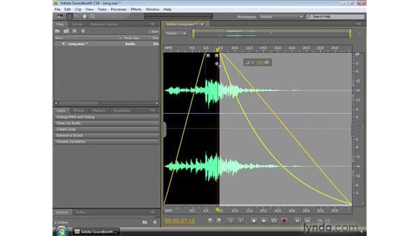 Using the fade handles: Soundbooth CS4 Essential Training