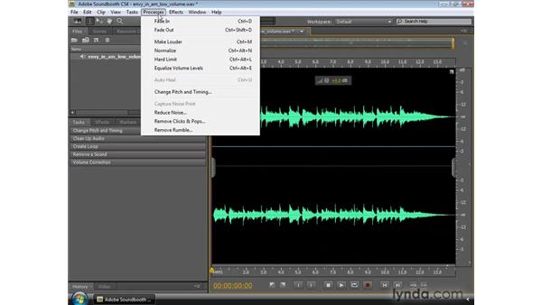 Working with the Normalize, Make Louder, and Hard Limit functions: Soundbooth CS4 Essential Training