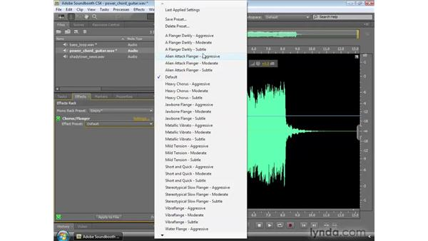Applying the Chorus/Flanger effect: Soundbooth CS4 Essential Training