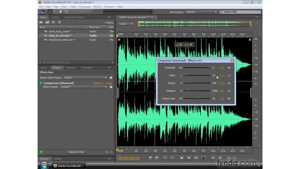 Using the Compressor: Soundbooth CS4 Essential Training
