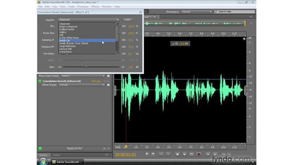 Applying the Convolution Reverb effect: Soundbooth CS4 Essential Training