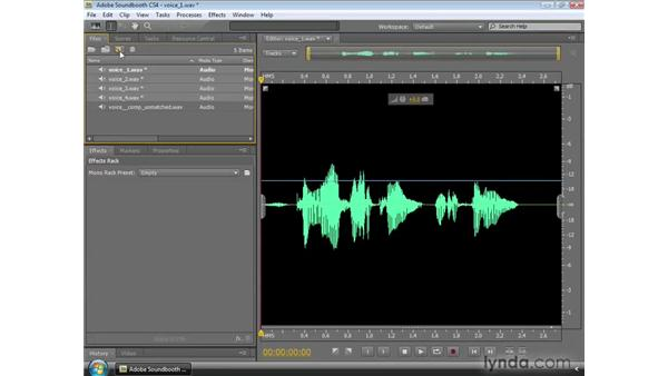 Matching the volume of multiple clips and equalizing volume levels: Soundbooth CS4 Essential Training