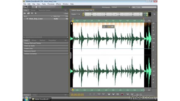 Using beat detection and creating a loop: Soundbooth CS4 Essential Training