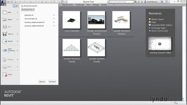 The Recent Files screen and the Application menu: Revit Architecture 2016 Essential Training (Metric)