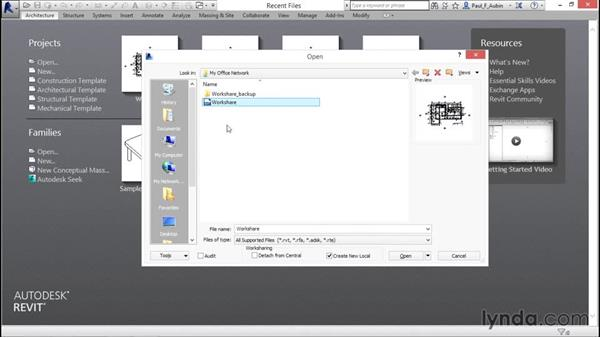 Accessing a multi-user projects using Workshare: Revit Architecture 2016 Essential Training (Metric)