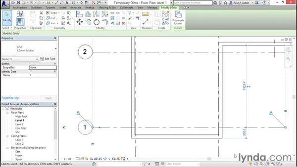 Refining a layout with temporary dimensions: Revit Architecture 2016 Essential Training (Metric)