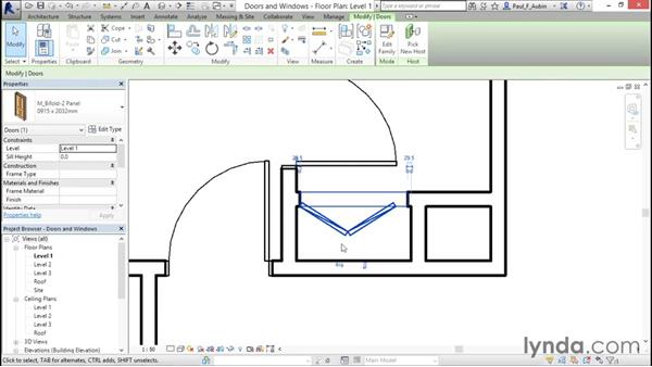 Adding doors and windows: Revit Architecture 2016 Essential Training (Metric)