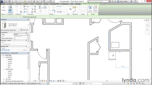 Adding plumbing fixtures and other components: Revit Architecture 2016 Essential Training (Metric)