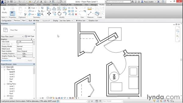 Wall joins: Revit Architecture 2016 Essential Training (Metric)