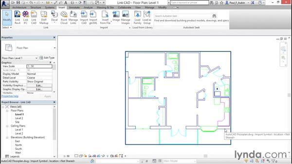 Linking AutoCAD DWG files: Revit Architecture 2016 Essential Training (Metric)