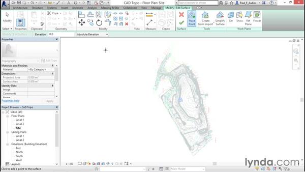 Creating topography from a DWG link: Revit Architecture 2016 Essential Training (Metric)