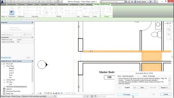 Mirroring groups to create a layout: Revit Architecture 2016 Essential Training (Metric)