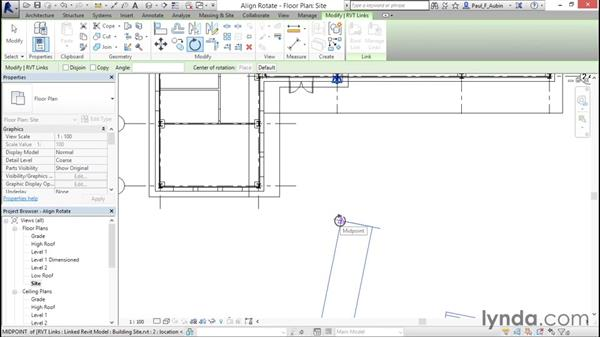 Rotating and aligning a Revit link: Revit Architecture 2016 Essential Training (Metric)