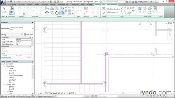 Working with ceilings: Revit Architecture 2016 Essential Training (Metric)