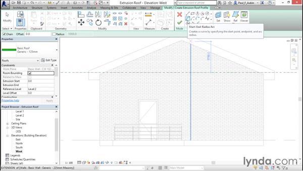 Creating extrusion roofs: Revit Architecture 2016 Essential Training (Metric)