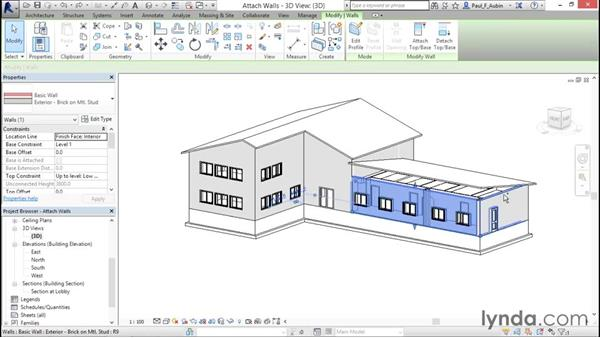 Attaching walls to roofs: Revit Architecture 2016 Essential Training (Metric)