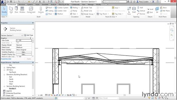 Using the shape editing tools to create a flat roof: Revit Architecture 2016 Essential Training (Metric)