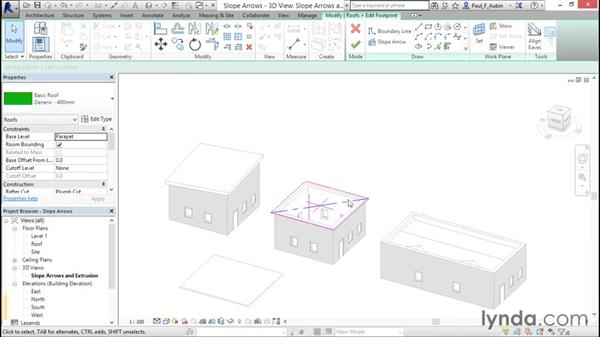 Working with slope arrows: Revit Architecture 2016 Essential Training (Metric)