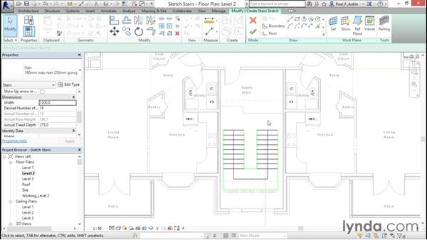Working with stairs: Revit Architecture 2016 Essential Training (Metric)