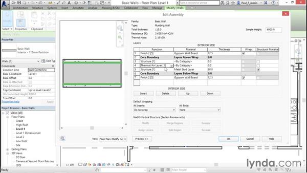 Creating a custom basic wall type: Revit Architecture 2016 Essential Training (Metric)