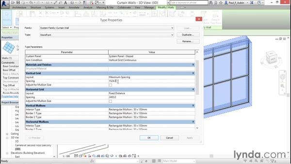 Adding curtain walls: Revit Architecture 2016 Essential Training (Metric)