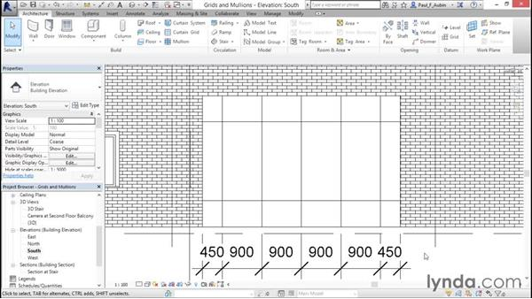 Adding curtain grids, mullions, and panels: Revit Architecture 2016 Essential Training (Metric)