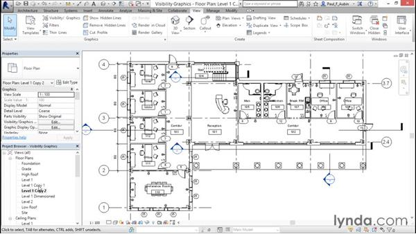 Working with visibility and graphic overrides: Revit Architecture 2016 Essential Training (Metric)
