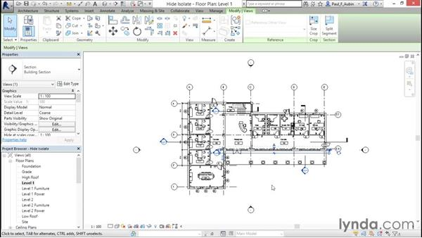 Hiding and isolating objects in a model: Revit Architecture 2016 Essential Training (Metric)