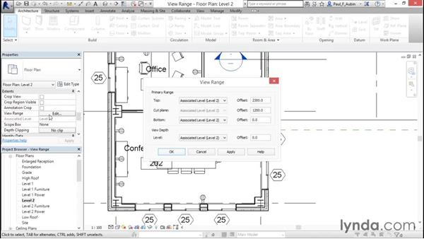 Understanding view range: Revit Architecture 2016 Essential Training (Metric)