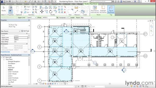 Controlling room numbering: Revit Architecture 2016 Essential Training (Metric)