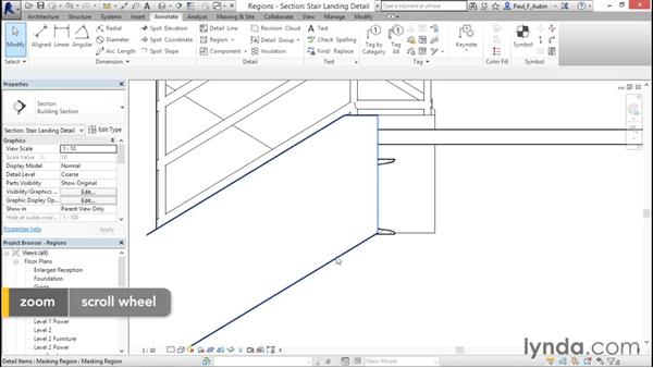 Adding filled and masking regions: Revit Architecture 2016 Essential Training (Metric)