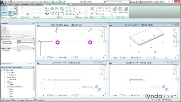 Cutting holes using void geometry: Revit Architecture 2016 Essential Training (Metric)
