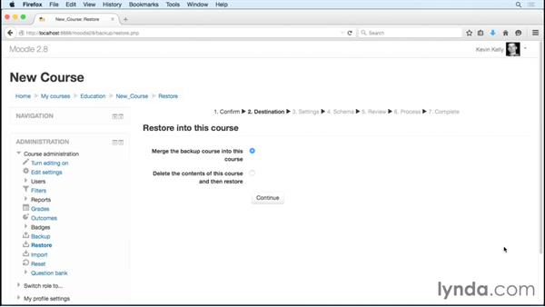 Reusing previous course materials and activities with Restore or Import: Moodle 2.8 Essential Training