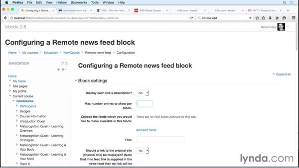 Sharing relevant RSS feeds: Moodle 2.8 Essential Training