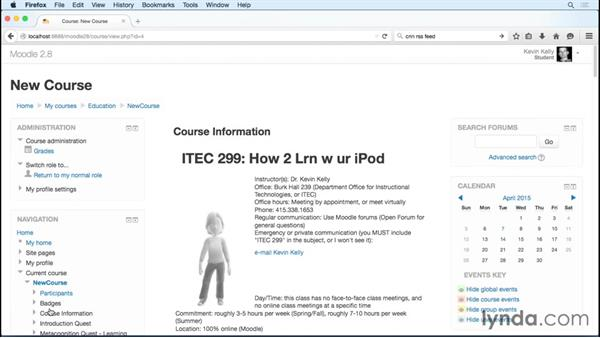 Switching roles to see what students see: Moodle 2.8 Essential Training