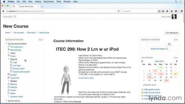 Tracking student activity and participation: Moodle 2.8 Essential Training