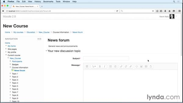 Making announcements with the news forum: Moodle 2.8 Essential Training