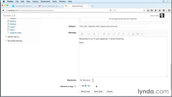Sending class emails with the Quickmail block: Moodle 2.8 Essential Training