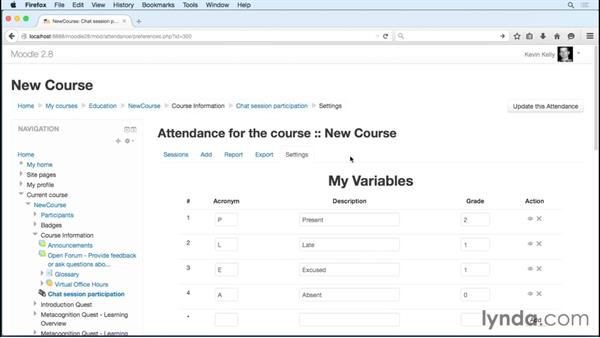 Giving credit for attendance: Moodle 2.8 Essential Training