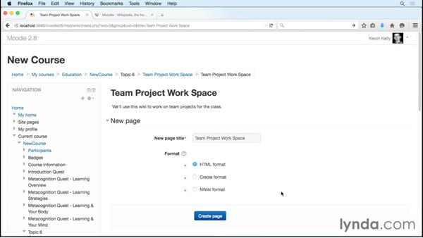 Facilitating team projects: Setting up a wiki: Moodle 2.8 Essential Training