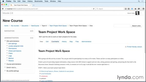 Facilitating team projects: Reviewing student work in wikis: Moodle 2.8 Essential Training