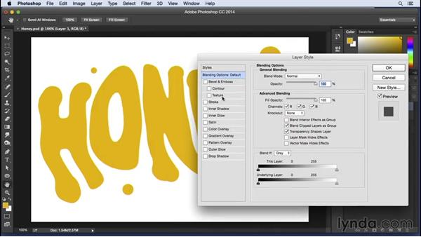 Type effects in Photoshop: Honey: Pixel Playground