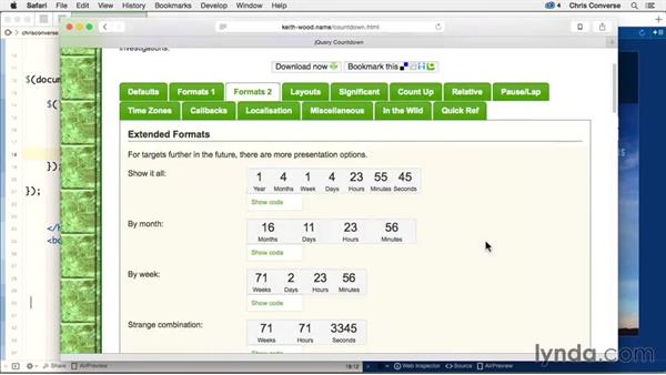 Customizing the counter and HTML injection: Design the Web: Creating an Event Countdown