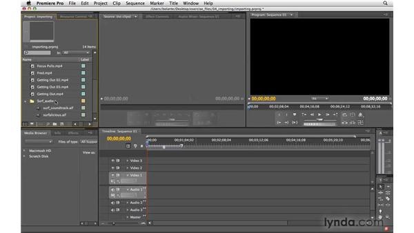 Importing files as footage: Premiere Pro CS4 Essential Training