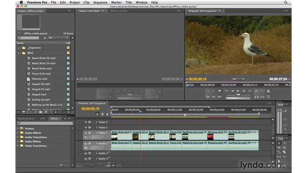 Dealing with missing media: Premiere Pro CS4 Essential Training