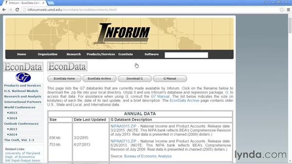 The University of Maryland INFORUM: Up and Running with Public Data Sets