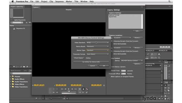 Setting up to capture from tape: Premiere Pro CS4 Essential Training