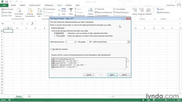 Importing downloaded data into Excel: Up and Running with Public Data Sets
