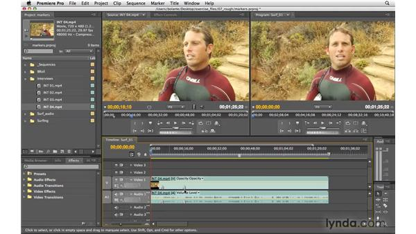 Setting markers: Premiere Pro CS4 Essential Training