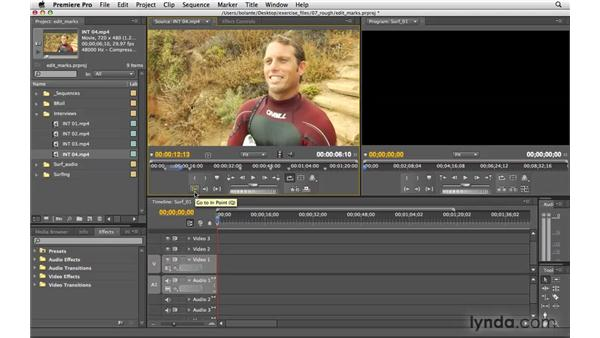 Setting in and out points: Premiere Pro CS4 Essential Training